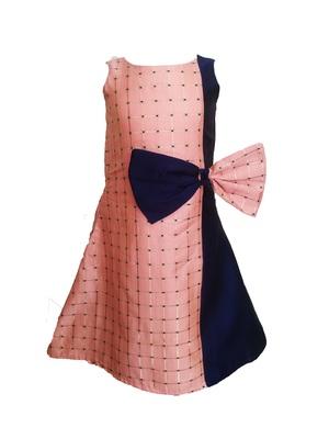 Kids Pink Cotton Silk Frock For Girls