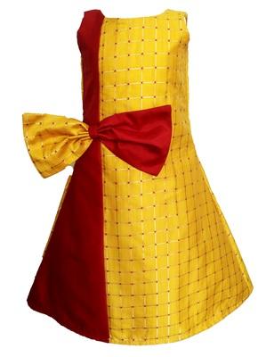Kids Yellow Cotton Silk Designer Frock