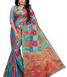 Kimisha Sky Blue, Multicolor Sana Silk  Jacquard Work Checks Pattern Saree With Running Blouse