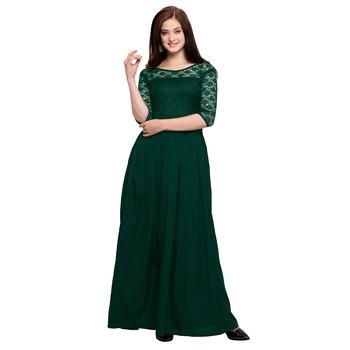 Green plain Crepe maxi dresses