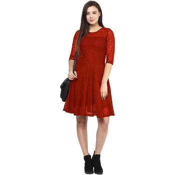 Red plain Net maxi dresses