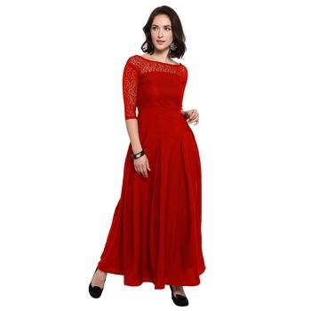 Red plain Crepe maxi dresses