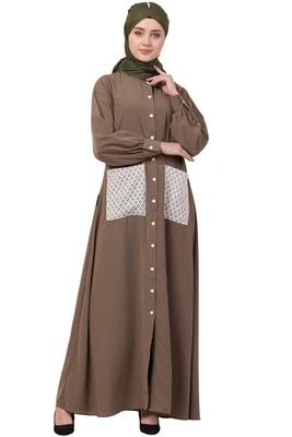 beige plain nida abaya