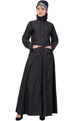 Black Plain Denim Abaya
