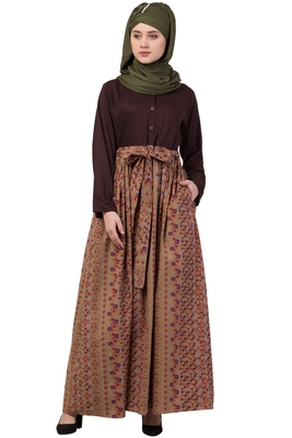 Brown Plain Rayon Abaya