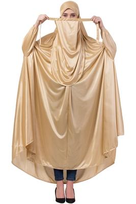 Gold Plain Polyester Abaya