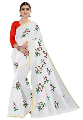 White embroidered chanderi silk saree with blouse
