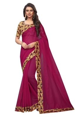 Rani pink plain chanderi silk saree with blouse