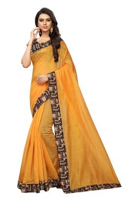 Mustard plain chanderi silk saree with blouse