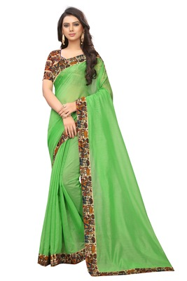 Light green plain chanderi silk saree with blouse