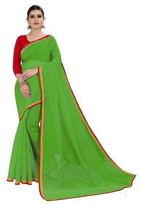 Dark green plain chanderi silk saree with blouse
