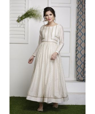 Ecru Block printed Dress Set