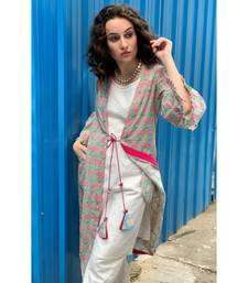 Ecru Cotton Kurti pant set with a Pistachio Coverup