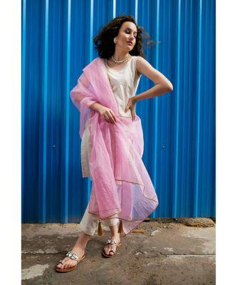 Ecru Cotton Lurex Stripe Sleeveless Kurti pant set with Baby pink Dupatta