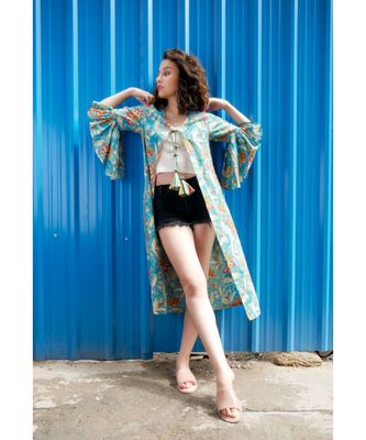 Blue Cotton Coverup with Floral Hand Block Print
