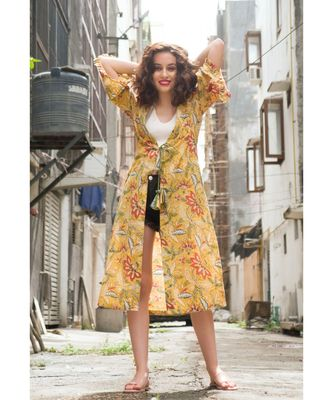 Yellow Cotton Coverup with Floral Hand Block Print