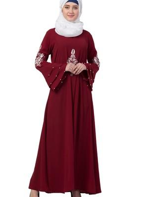 maroon nida embroidered abaya