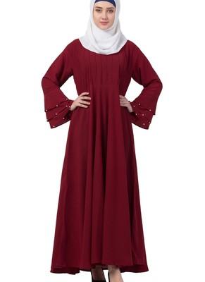 maroon nida plain abaya