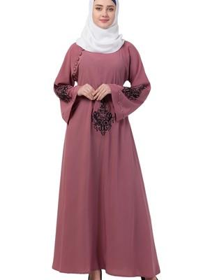pink nida embroidered abaya