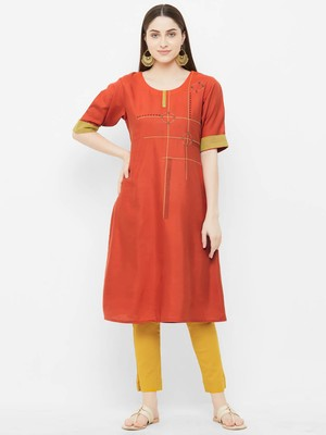 Orange plain satin ethnic-kurtis