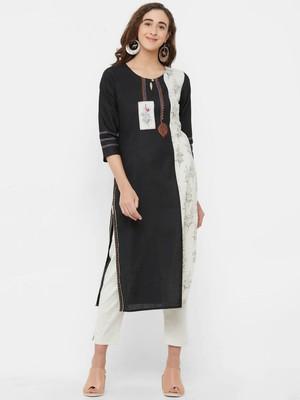 Black printed linen ethnic-kurtis