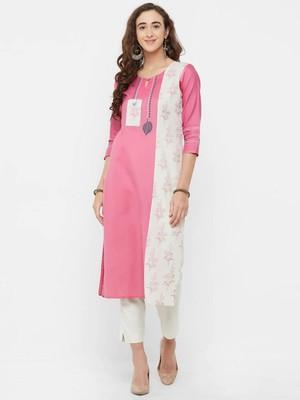Pink printed linen ethnic-kurtis