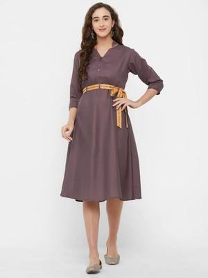 Purple plain rayon ethnic-kurtis