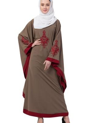 beige nida embroidered abaya