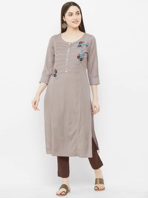 Grey embroidered rayon ethnic-kurtis