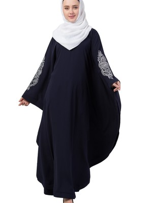 blue nida embroidered abaya