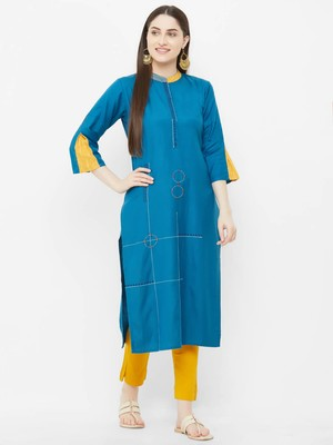 Blue plain rayon ethnic-kurtis