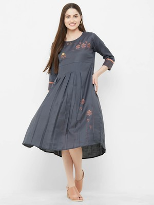 Grey plain rayon ethnic-kurtis