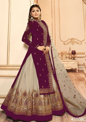 Beet embroidered georgette semi stitched salwar with dupatta