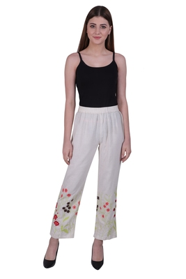 Beige Embroidered Cotton Trousers