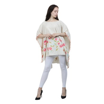 Beige Embroidered Blended Cotton Top
