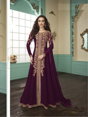 Wine Embroider Codding Work Georgette Gown Style Suit