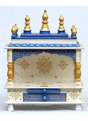 White and Blue Color Pooja Mandir