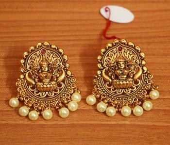 Gold Pearl Danglers-Drops