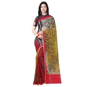 Women's  red Chanderi Floral Printed Designer Saree