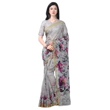 Women's  off white Chanderi Floral Printed Designer Saree