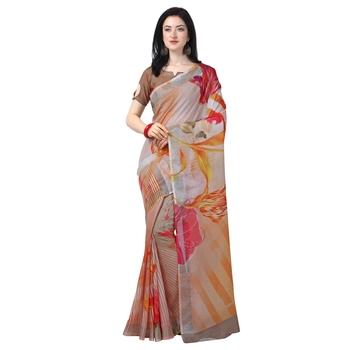 Women's  off white Lilen Cotton Floral Printed Designer Saree
