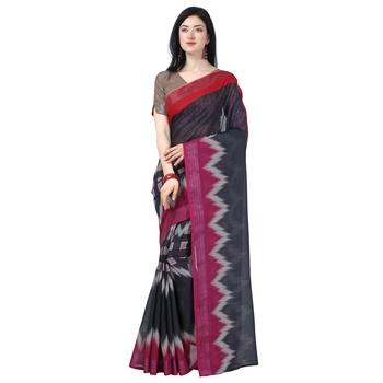 Women's  grey Lilen Cotton Digital Printed Designer Saree