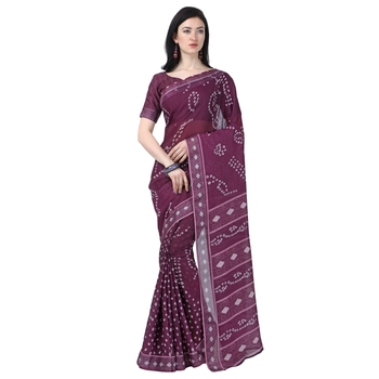 Women's  purple Lilen Cotton Bandhani Printed Designer Saree
