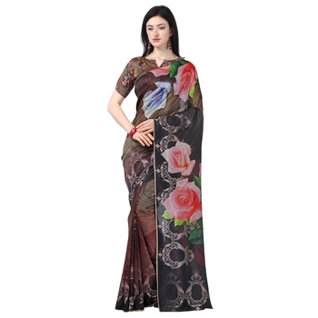 Women's  brown Tussar Silk Floral Printed Designer Saree