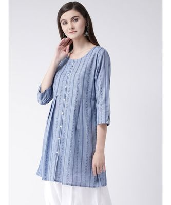 Women Blue Cotton A-line Kurta