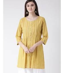 Women Yellow Cotton A-line Kurta