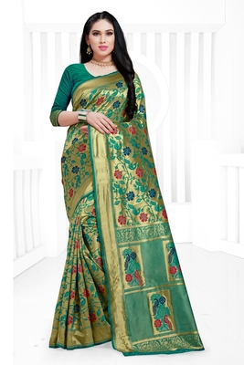 Green hand woven banarasi silk saree with blouse