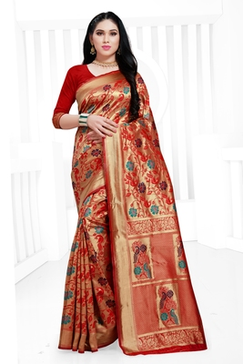 Red hand woven banarasi silk saree with blouse