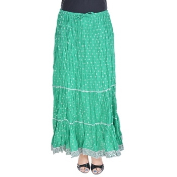 Green printed cotton skirts