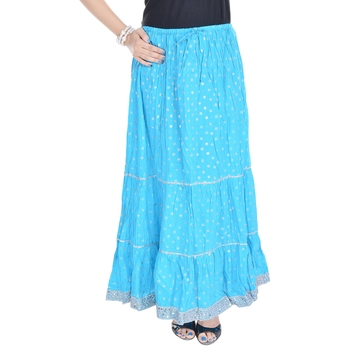 Aqua-blue printed cotton skirts